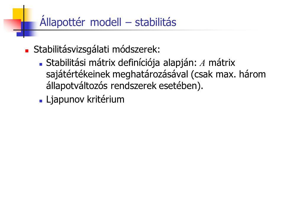 Állapottér modell – stabilitás Stabilitásvizsgálati módszerek: Stabilitási mátrix definíciója alapján: A mátrix sajátértékeinek meghatározásával (csak