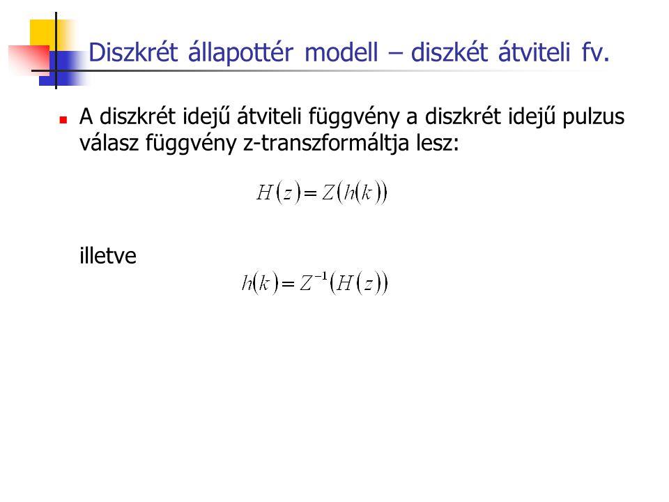 Diszkrét állapottér modell – diszkét átviteli fv. A diszkrét idejű átviteli függvény a diszkrét idejű pulzus válasz függvény z-transzformáltja lesz: i