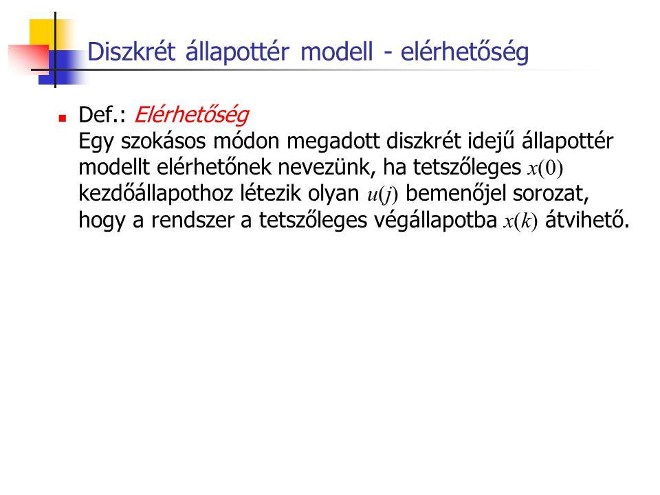 Diszkrét állapottér modell - elérhetőség Def.: Elérhetőség Egy szokásos módon megadott diszkrét idejű állapottér modellt elérhetőnek nevezünk, ha tets