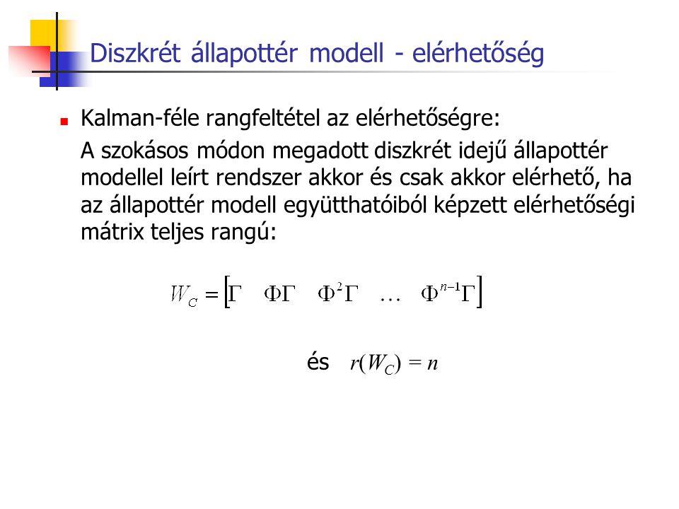 Diszkrét állapottér modell - elérhetőség Kalman-féle rangfeltétel az elérhetőségre: A szokásos módon megadott diszkrét idejű állapottér modellel leírt