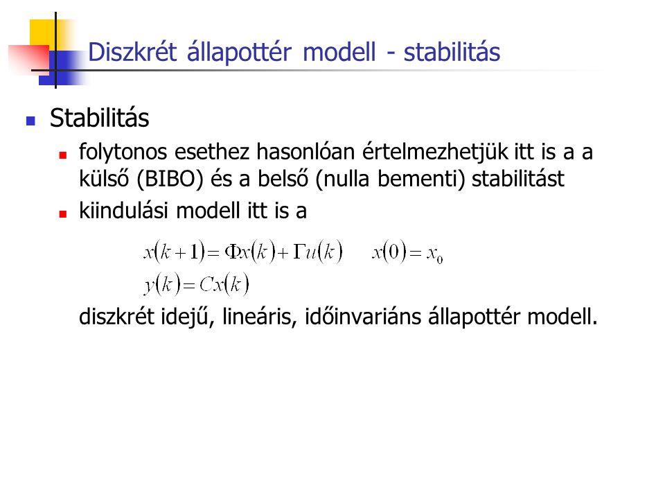 Diszkrét állapottér modell - stabilitás Stabilitás folytonos esethez hasonlóan értelmezhetjük itt is a a külső (BIBO) és a belső (nulla bementi) stabi