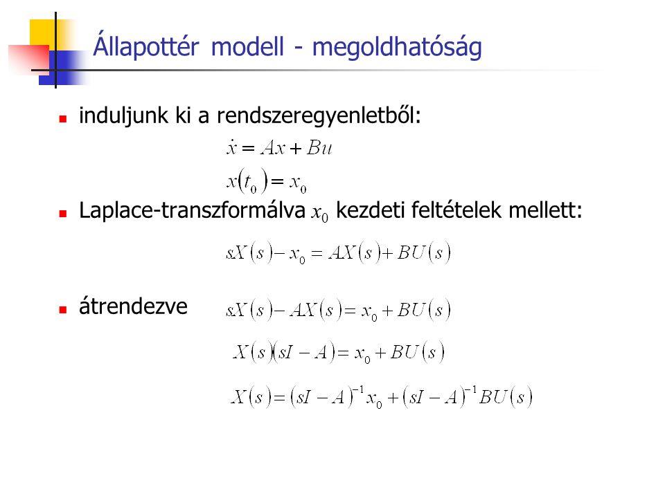 Állapottér modell – irányíthatóság Az állapotirányíthatóság teljesüléséhez az kell, hogy az összefüggés alapján u(t) meghatározható legyen, ehhez viszont az e A(t 1 -t 0 ) B mátrixsorainak lineáris függetlenségét kellene vizsgálni.