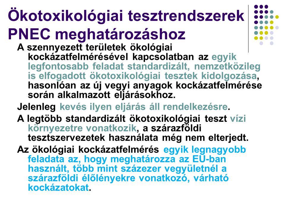Ökotoxikológiai tesztrendszerek PNEC meghatározáshoz A szennyezett területek ökológiai kockázatfelmérésével kapcsolatban az egyik legfontosabb feladat