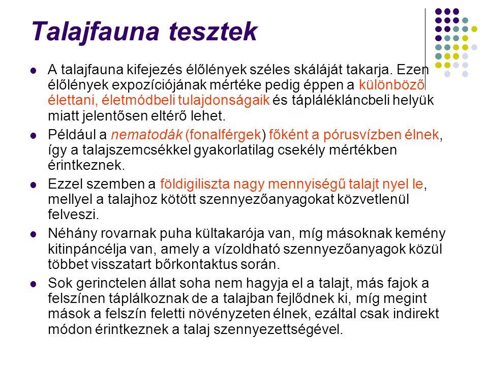 Talajfauna tesztek A talajfauna kifejezés élőlények széles skáláját takarja. Ezen élőlények expozíciójának mértéke pedig éppen a különböző élettani, é