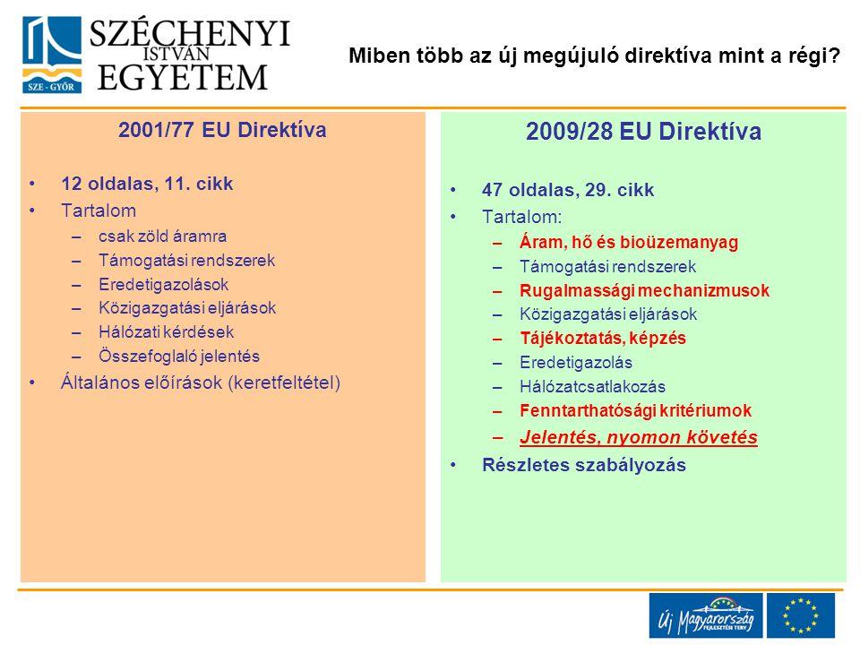 Miben több az új megújuló direktíva mint a régi. 2001/77 EU Direktíva 12 oldalas, 11.