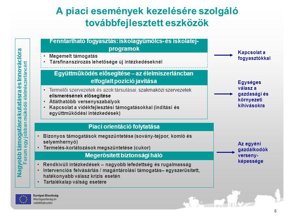77 A vidékfejlesztés új szerkezete Közös Stratégiai Keretrendszer (CSF) – lefedi az ERFA-t, EMVA-t, ESZA-t, Kohéziós Alapot és ETHA-t, tükrözi az EU2020 célokat közös tematikai célkitűzésekkel, melyek megvalósítására mindegyik alapban kulcslépéseket határoz meg Partnerségi Szerződések – nemzeti szintű dokumentum mely leírja hogy kerülnek felhasználásra az alapok az EU2020-as célok megvalósítása érdekében Vidékfejlesztés: EMVA Egyéb CSF alapok (ERFA, ESZA, Kohéziós Alap, ETHA) Vidékfejlesztési Program(ok) Európa 2020 stratégia Társadalmi kirekesztés, szegénység elleni küzdelem és gazdasági fejlődés előmozdítása vidéken Versenyképesség és a gazdaságok életképességének növelése Az élelmiszer-lánc szerveződésének és az ágazati kockázatkezelés ösztönzése A mezőgazdasági és erdészeti ökoszisztémák helyreállítása, megőrzése és erősítése Erőforrás-hatékonyság előmozdítása és alacsony széndioxid kibocsátású és a környezeti kihívásokra rugalmasan reagáló mezőgazdasági, élelmiszeripari és erdészeti ágazat támogatása Tudástranszfer és innováció előmozdítása a mezőgazdaságban, erdészetben és vidéken Prioritások Átfogó témák: Innováció, Környezet és Klímaváltozás