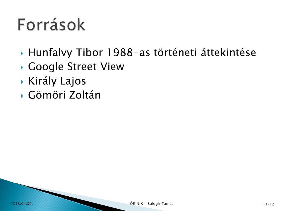  Hunfalvy Tibor 1988-as történeti áttekintése  Google Street View  Király Lajos  Gömöri Zoltán 2013.04.30.ÓE NIK - Balogh Tamás 11/12