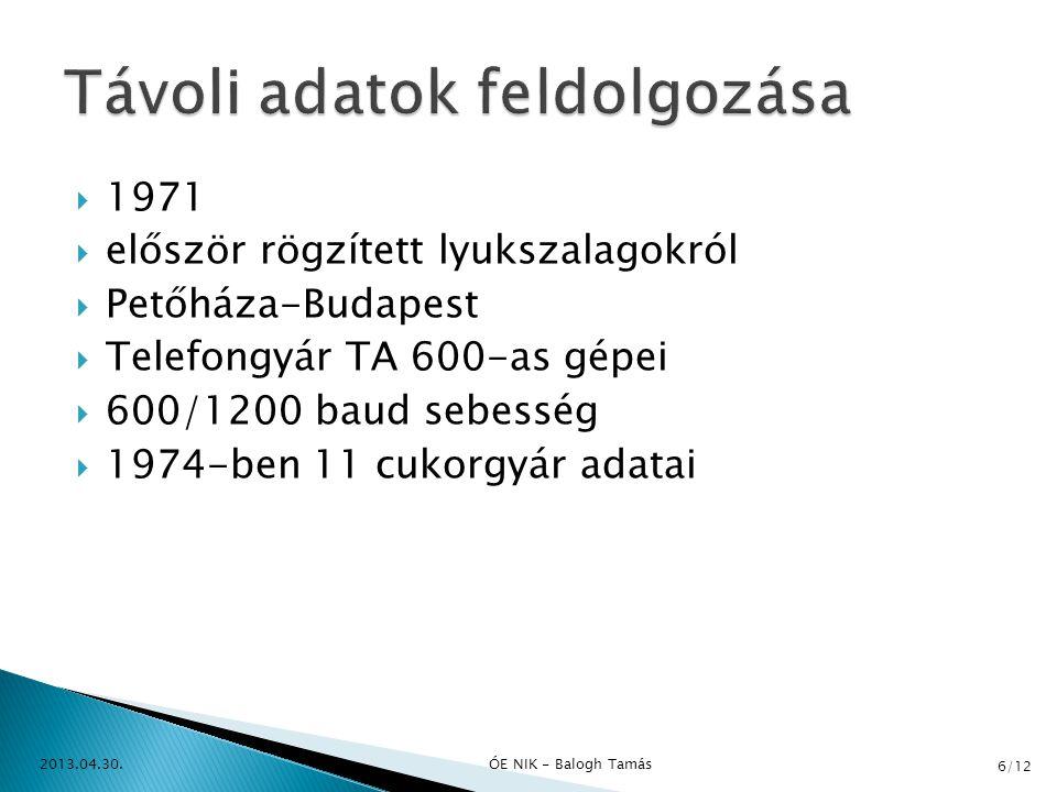  1975 vége  R 20-as számítógép (32 millió Ft!!!)  MDS gyorsnyomtató rendszer - MDS 2400 (14 millió Ft!!!)  1976  R 22-es (50%-os áron 15,5 millió Ft)  1977-ben megszűnik a lyukkártyás feldolgozás  1979 végén 2 db BULL Gamma 115, 2 db MDS 2400, R 20, 3db R22 2013.04.30.ÓE NIK - Balogh Tamás 7/12
