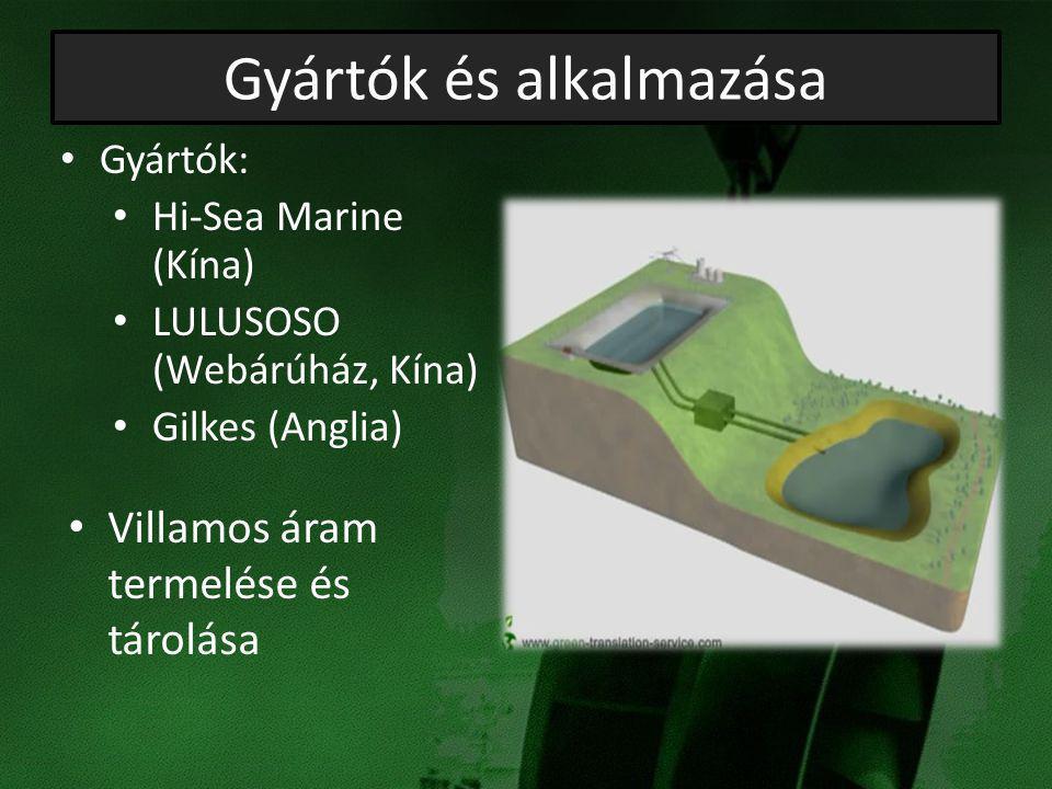 Gyártók és alkalmazása Villamos áram termelése és tárolása Gyártók: Hi-Sea Marine (Kína) LULUSOSO (Webárúház, Kína) Gilkes (Anglia)