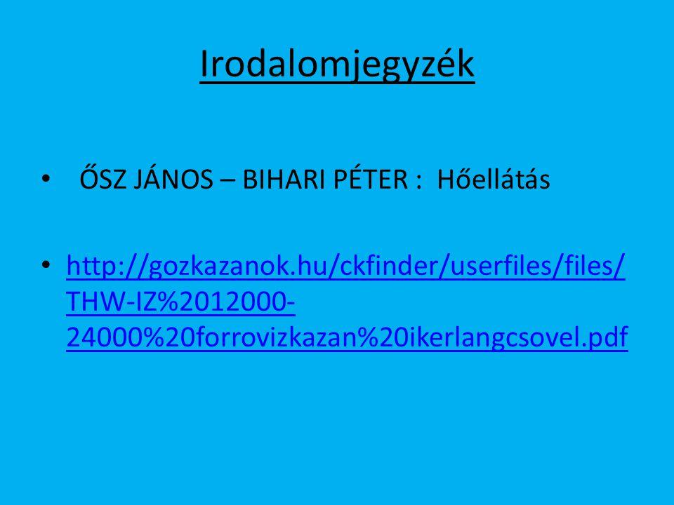 Irodalomjegyzék ŐSZ JÁNOS – BIHARI PÉTER : Hőellátás http://gozkazanok.hu/ckfinder/userfiles/files/ THW-IZ%2012000- 24000%20forrovizkazan%20ikerlangcs