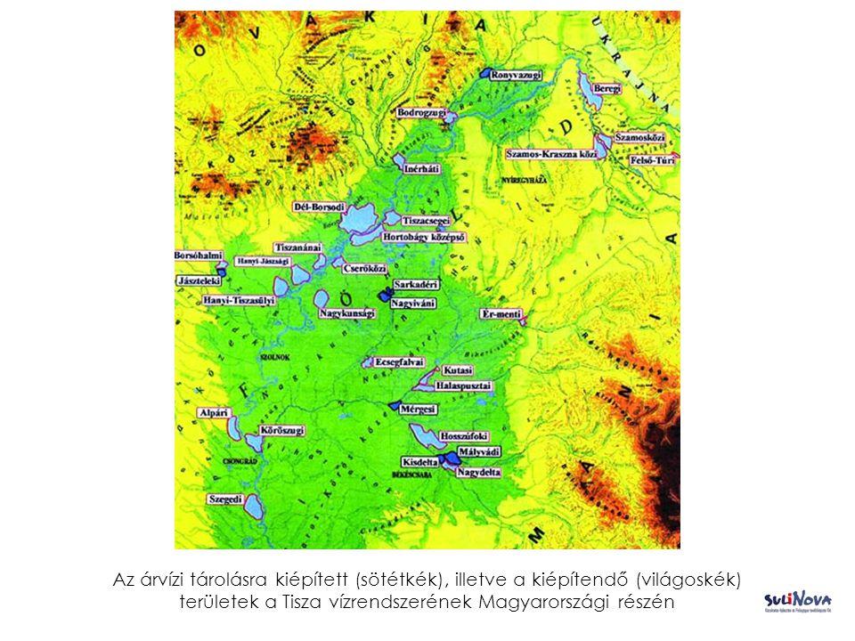 A Tisza ártéri területei 1 százalékos és 0,1 százalékos valószínűségű árvíz által okozott elöntés esetén