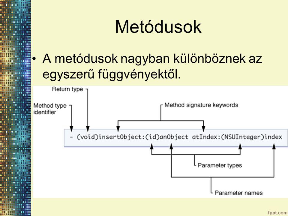 Metódusok A metódusok nagyban különböznek az egyszerű függvényektől.