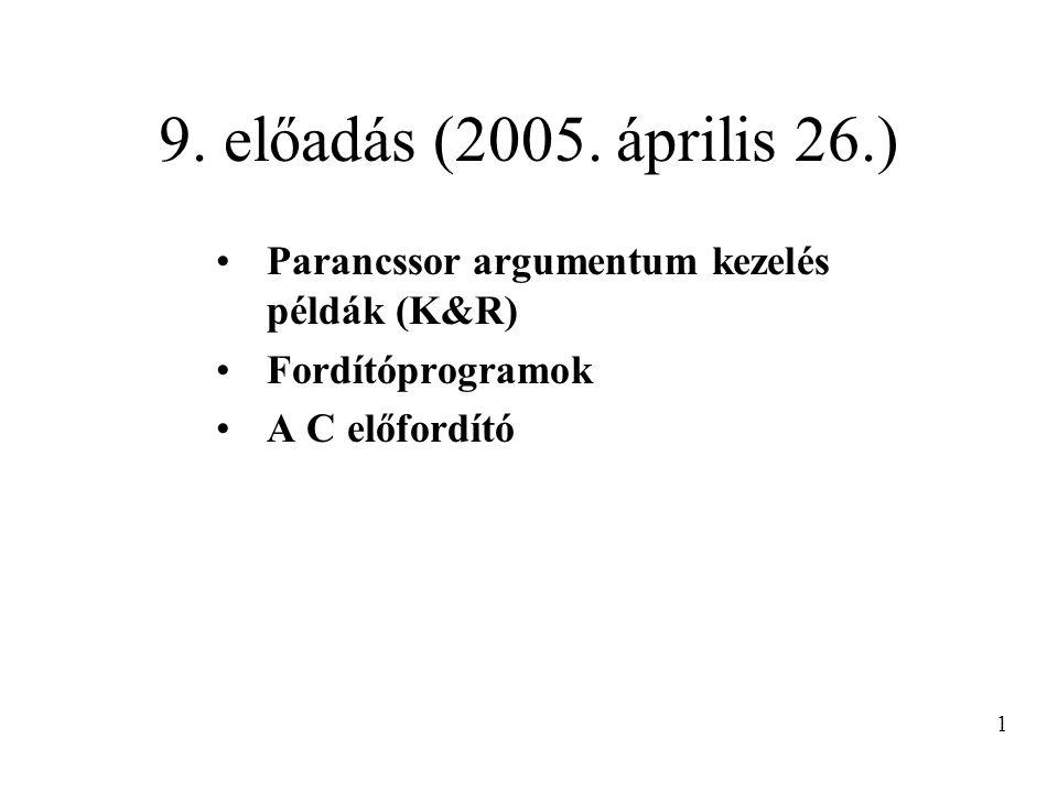 9. előadás (2005. április 26.) Parancssor argumentum kezelés példák (K&R) Fordítóprogramok A C előfordító 1