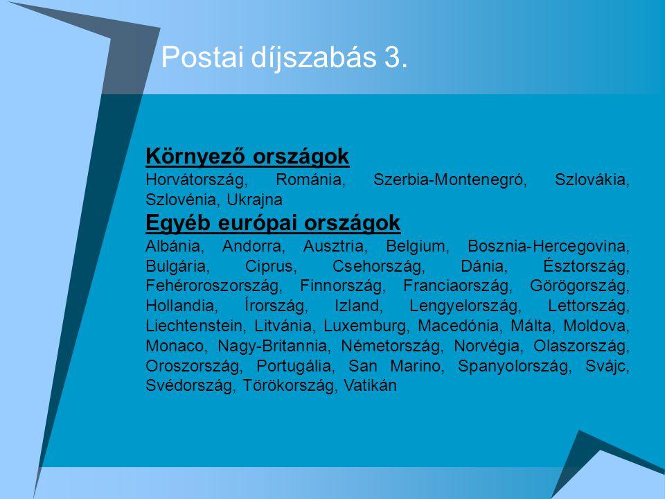 Postai díjszabás 3. Környező országok Horvátország, Románia, Szerbia-Montenegró, Szlovákia, Szlovénia, Ukrajna Egyéb európai országok Albánia, Andorra