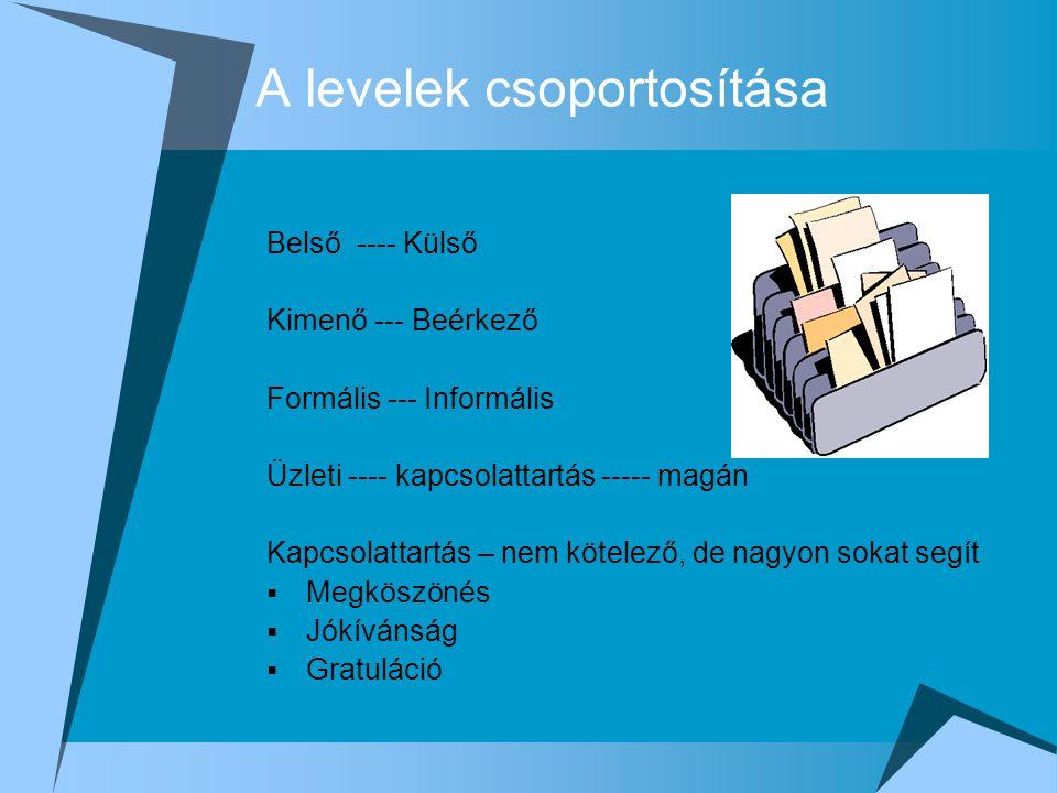 A levelek csoportosítása Belső ---- Külső Kimenő --- Beérkező Formális --- Informális Üzleti ---- kapcsolattartás ----- magán Kapcsolattartás – nem kö