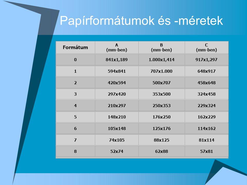 Papírformátumok és -méretek Formátum A (mm-ben) B (mm-ben) C (mm-ben) 0841x1,1891.000x1,414917x1,297 1594x841707x1.000648x917 2420x594500x707458x648 3