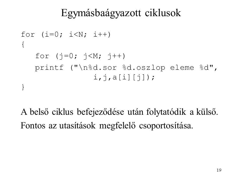 19 Egymásbaágyazott ciklusok for (i=0; i<N; i++) { for (j=0; j<M; j++) printf ( \n%d.sor %d.oszlop eleme %d , i,j,a[i][j]); } A belső ciklus befejeződése után folytatódik a külső.