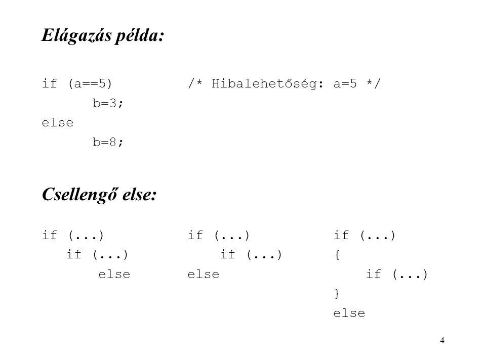 4 Elágazás példa: if (a==5)/* Hibalehetőség: a=5 */ b=3; else b=8; Csellengő else: if (...)if (...)if (...) if (...) if (...){ elseelse if (...) } els