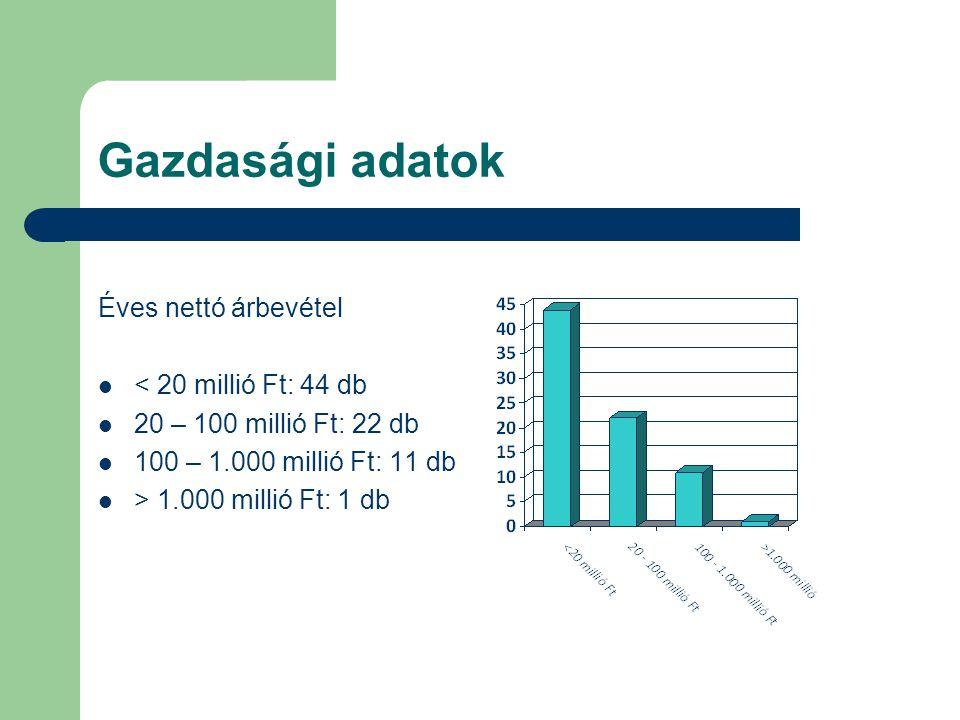 Gazdasági adatok Éves nettó árbevétel < 20 millió Ft: 44 db 20 – 100 millió Ft: 22 db 100 – 1.000 millió Ft: 11 db > 1.000 millió Ft: 1 db