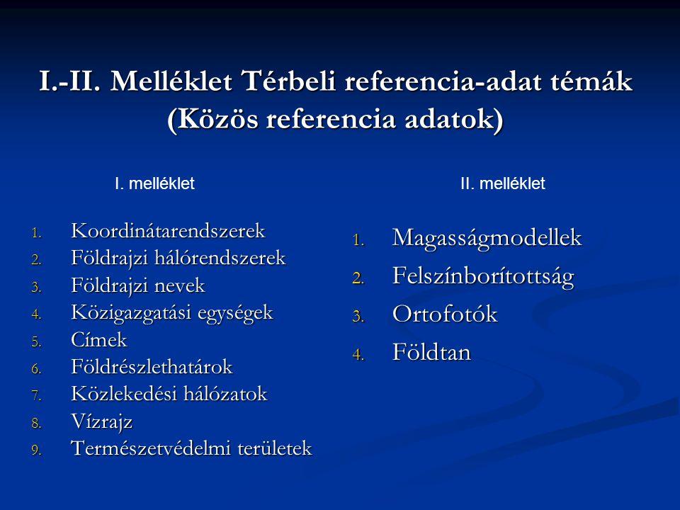I.-II. Melléklet Térbeli referencia-adat témák (Közös referencia adatok) 1. Koordinátarendszerek 2. Földrajzi hálórendszerek 3. Földrajzi nevek 4. Köz