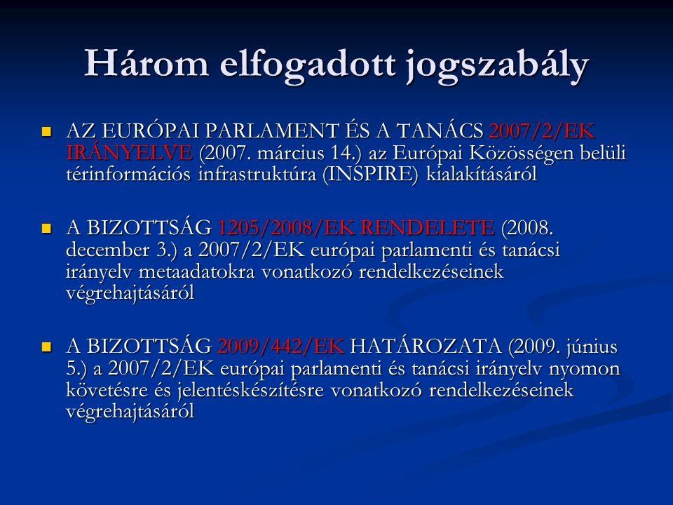 Három elfogadott jogszabály AZ EURÓPAI PARLAMENT ÉS A TANÁCS 2007/2/EK IRÁNYELVE (2007. március 14.) az Európai Közösségen belüli térinformációs infra
