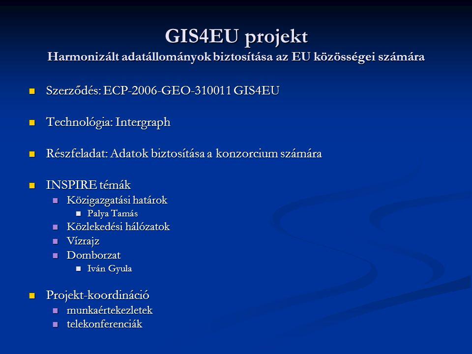 GIS4EU projekt Harmonizált adatállományok biztosítása az EU közösségei számára Szerződés: ECP-2006-GEO-310011 GIS4EU Szerződés: ECP-2006-GEO-310011 GI