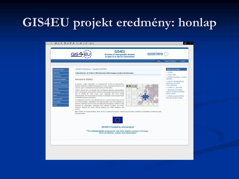 GIS4EU projekt eredmény: honlap
