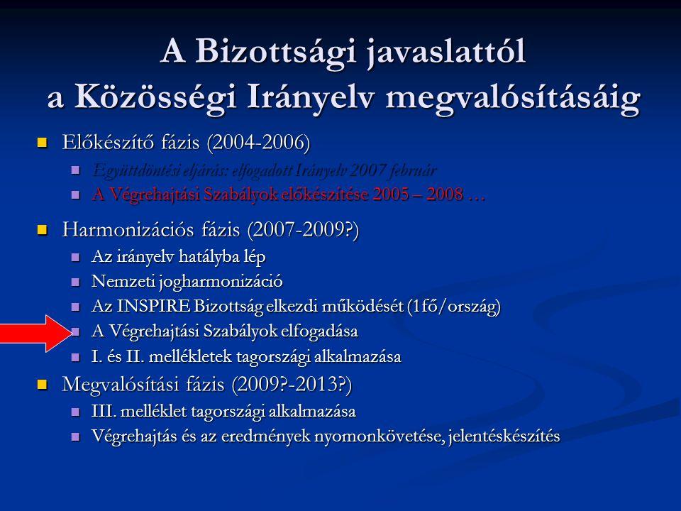 A Bizottsági javaslattól a Közösségi Irányelv megvalósításáig Előkészítő fázis (2004-2006) Előkészítő fázis (2004-2006) Együttdöntési eljárás: elfogad