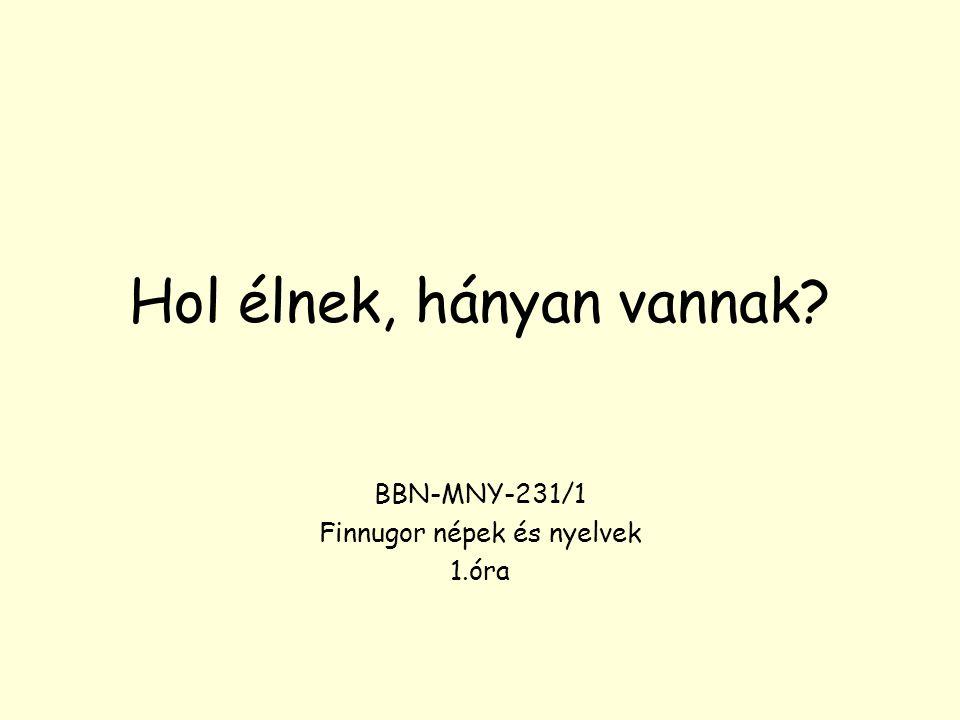 Hol élnek, hányan vannak? BBN-MNY-231/1 Finnugor népek és nyelvek 1.óra