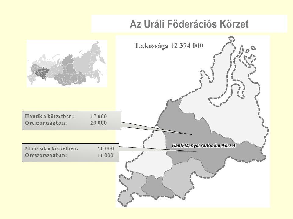 Az Uráli Föderációs Körzet Hantik a körzetben: 17 000 Oroszországban: 29 000 Manysik a körzetben: 10 000 Oroszországban: 11 000 Lakossága 12 374 000