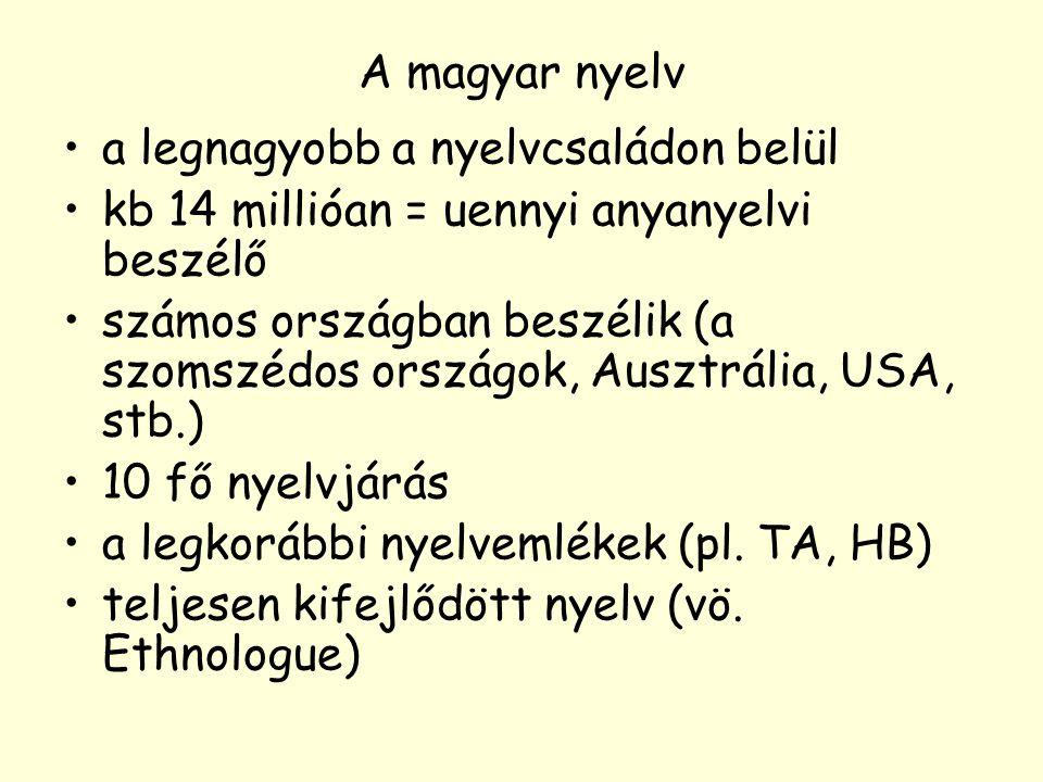 A magyar nyelv a legnagyobb a nyelvcsaládon belül kb 14 millióan = uennyi anyanyelvi beszélő számos országban beszélik (a szomszédos országok, Ausztrá