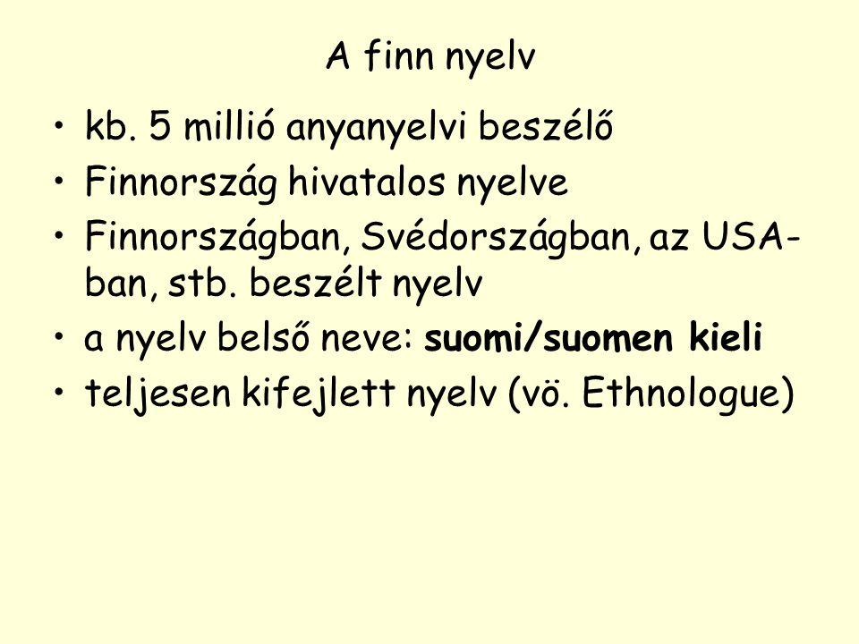 A finn nyelv kb. 5 millió anyanyelvi beszélő Finnország hivatalos nyelve Finnországban, Svédországban, az USA- ban, stb. beszélt nyelv a nyelv belső n