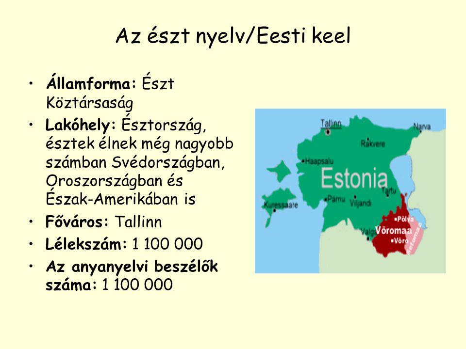 Az észt nyelv/Eesti keel Államforma: Észt Köztársaság Lakóhely: Észtország, észtek élnek még nagyobb számban Svédországban, Oroszországban és Észak-Am