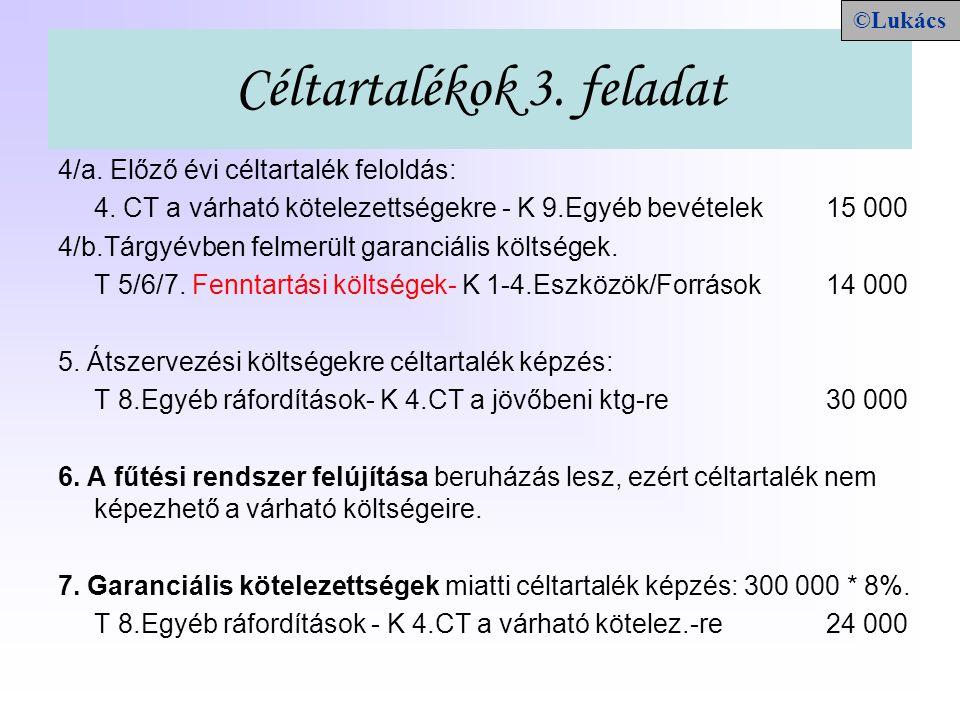 Céltartalékok 3. feladat 4/a. Előző évi céltartalék feloldás: 4. CT a várható kötelezettségekre - K 9.Egyéb bevételek15 000 4/b.Tárgyévben felmerült g