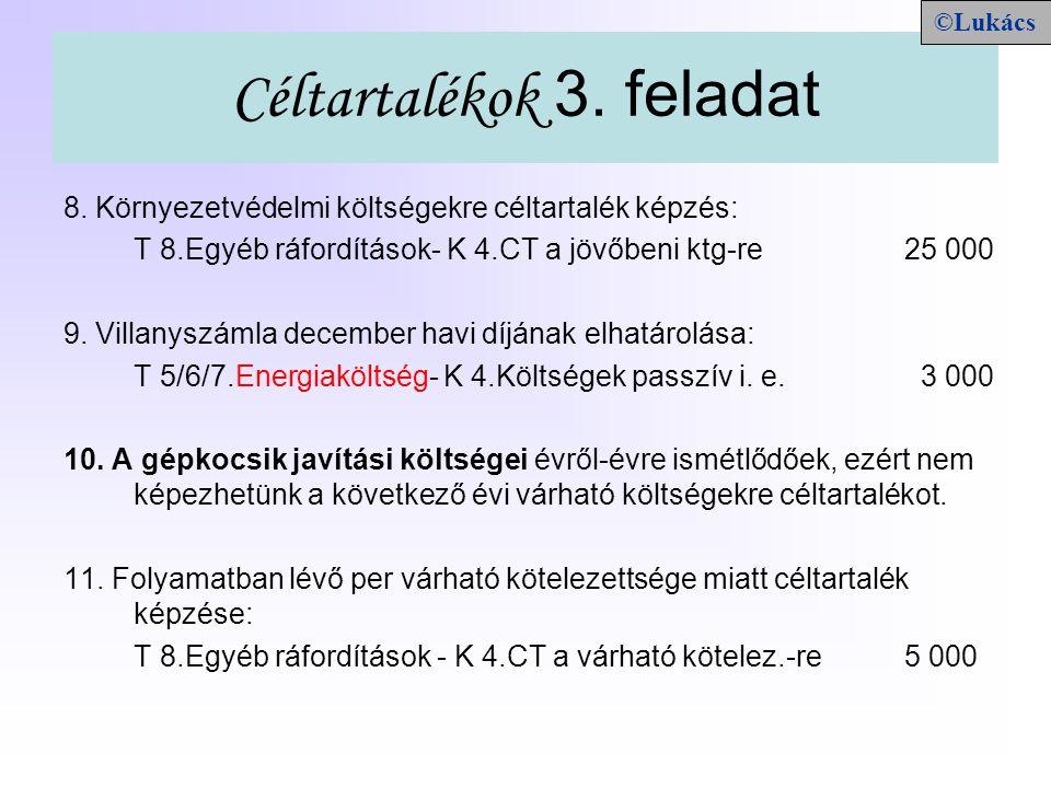 Céltartalékok/5.feladat (370. oldal) M e g n e v e z é s CTMás 1.