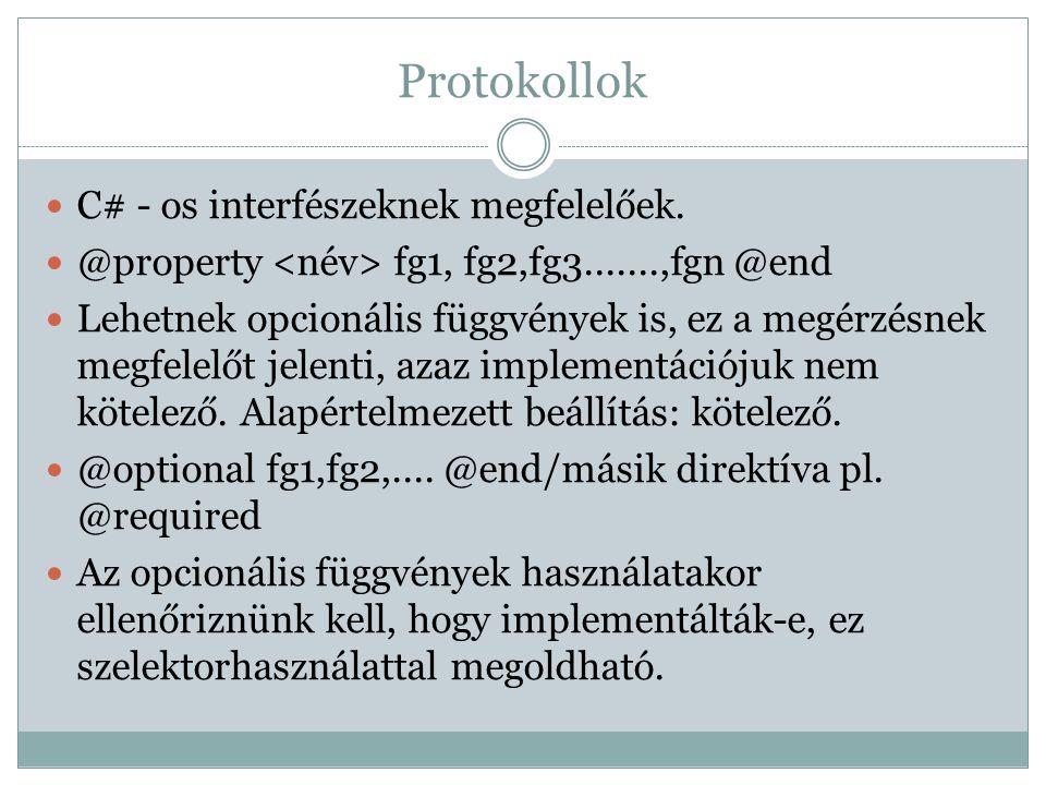 Protokollok C# - os interfészeknek megfelelőek. @property fg1, fg2,fg3.......,fgn @end Lehetnek opcionális függvények is, ez a megérzésnek megfelelőt