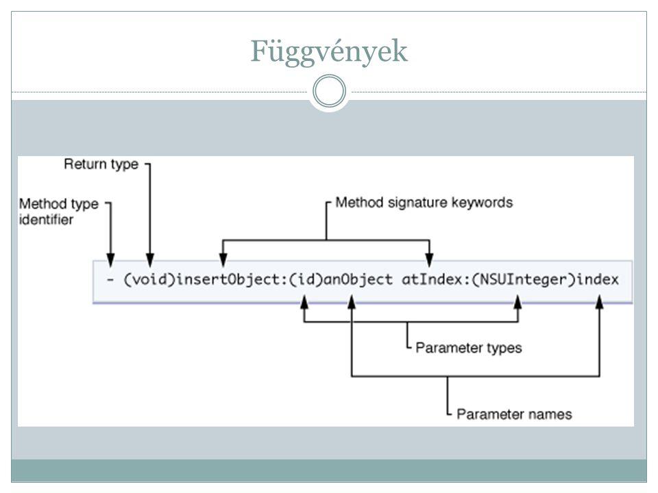Függvények (folytatás) Itt jön be a Smalltalk – Message rendszer  [ ] Hogy ne kelljen lokális változókat tárolni a memóriában, az üzenetek egymásba ágyazhatóak, ezáltal megnövelve az Objective C-ben programozók agyvérzésének kockázatát....