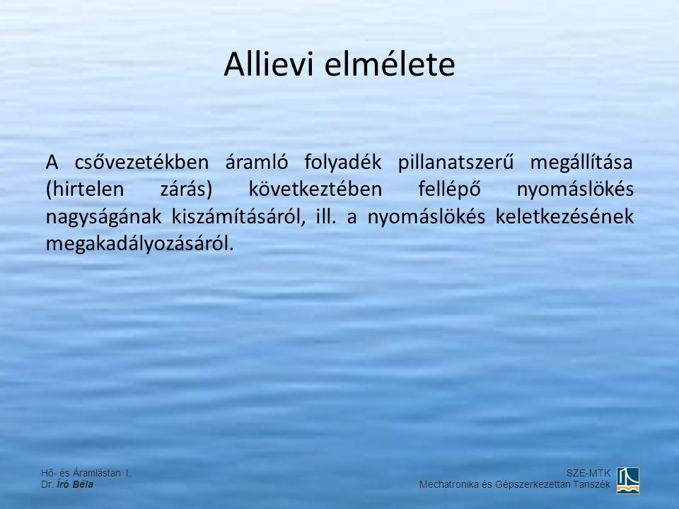 Allievi elmélete A csővezetékben áramló folyadék pillanatszerű megállítása (hirtelen zárás) következtében fellépő nyomáslökés nagyságának kiszámításár