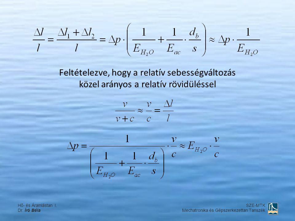 Feltételezve, hogy a relatív sebességváltozás közel arányos a relatív rövidüléssel Hő- és Áramlástan I. Dr. Író Béla SZE-MTK Mechatronika és Gépszerke
