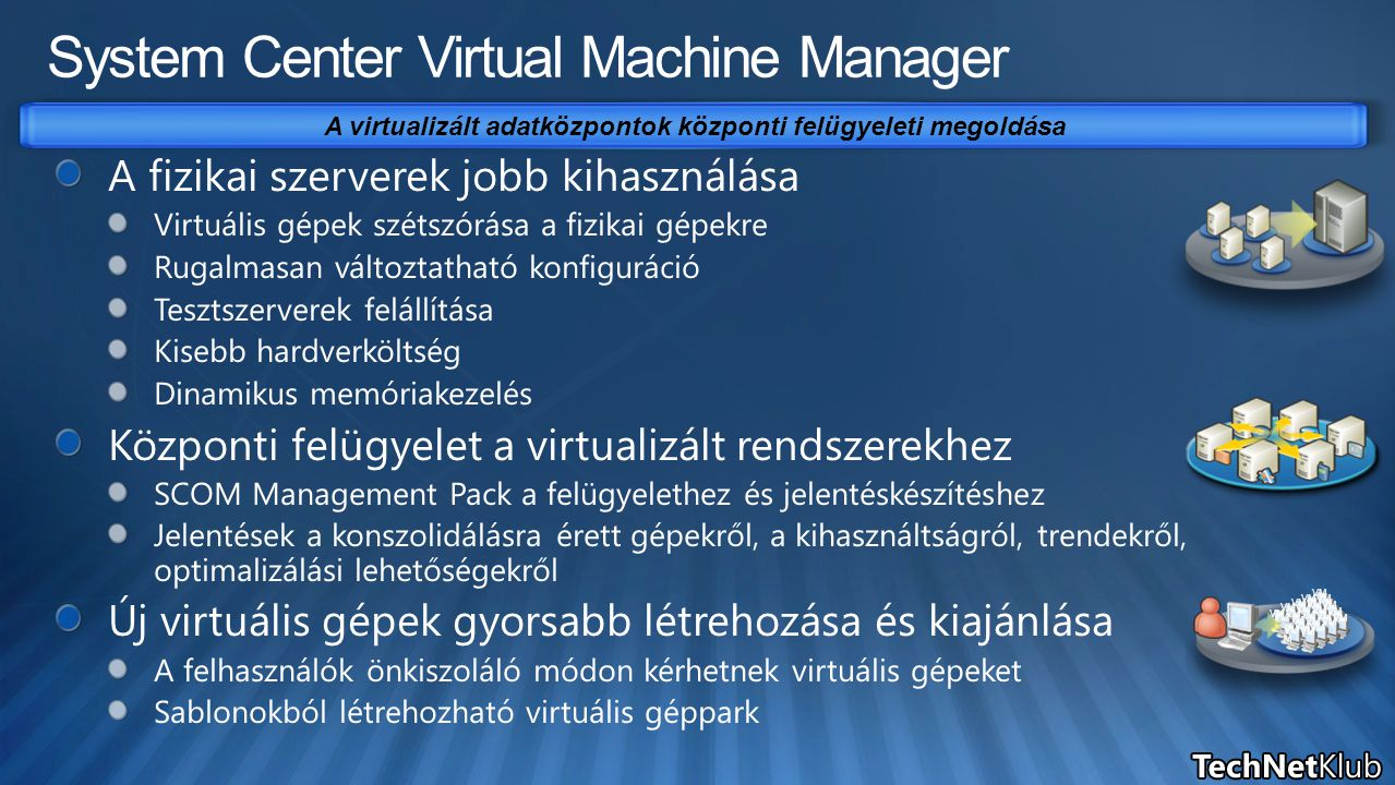 A virtualizált adatközpontok központi felügyeleti megoldása VM VMVM