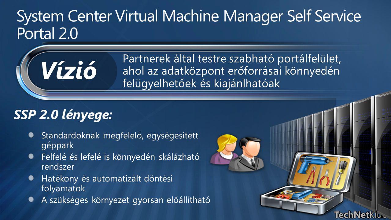 SSP 2.0 lényege: System Center Virtual Machine Manager Self Service Portal 2.0 Partnerek által testre szabható portálfelület, ahol az adatközpont erőf