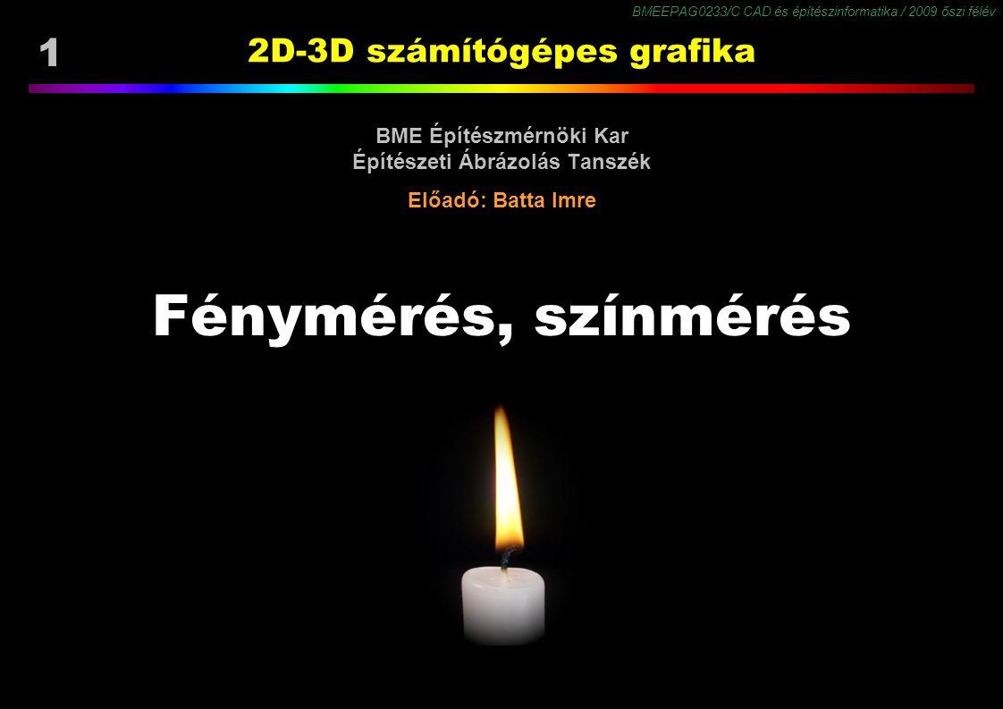BMEEPAG0233/C CAD és építészinformatika / 2009 őszi félév 22 Mennyiségek, mértékegységek RadiometriaFotometria MennyiségJelMértékegys.MennyiségJelMértékegys.
