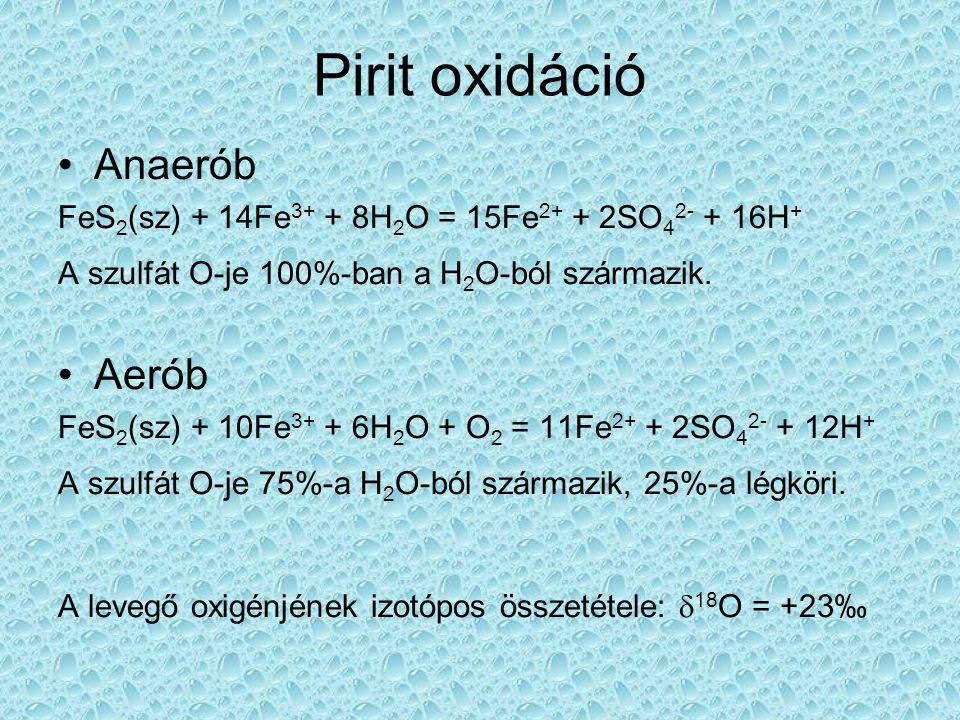 Kisérletek: aerob és anaerob szulfid-oxidáció A szulfátban lévő O hány százaléka légköri eredetű.