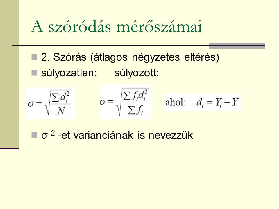 2. Szórás (átlagos négyzetes eltérés) súlyozatlan: súlyozott: σ 2 -et varianciának is nevezzük