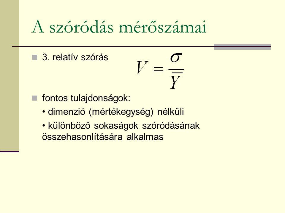A szóródás mérőszámai 3. relatív szórás fontos tulajdonságok: dimenzió (mértékegység) nélküli különböző sokaságok szóródásának összehasonlítására alka