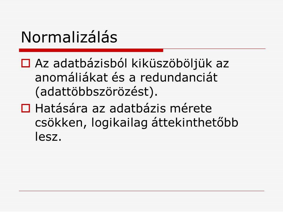 Normalizálás  Az adatbázisból kiküszöböljük az anomáliákat és a redundanciát (adattöbbszörözést).  Hatására az adatbázis mérete csökken, logikailag