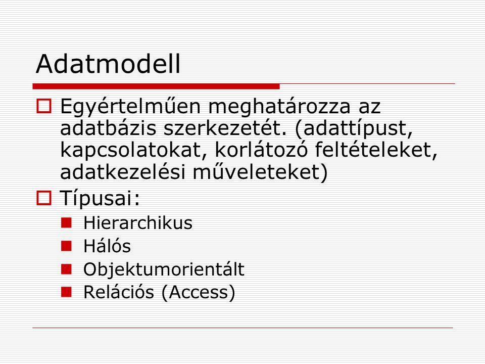 Adatmodell  Egyértelműen meghatározza az adatbázis szerkezetét. (adattípust, kapcsolatokat, korlátozó feltételeket, adatkezelési műveleteket)  Típus