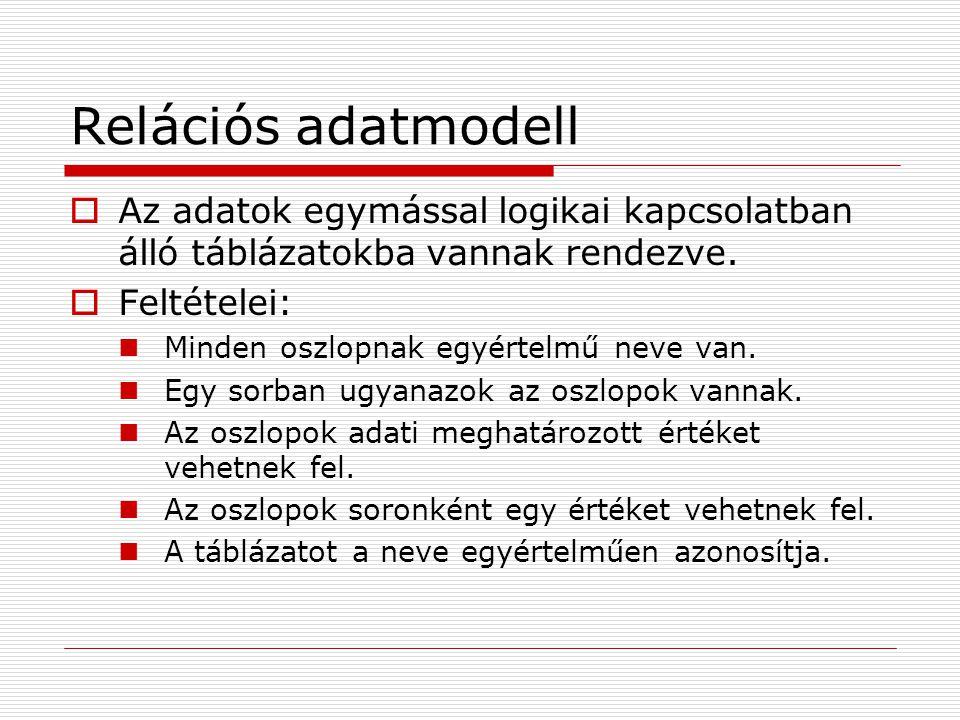 Relációs adatmodell  Az adatok egymással logikai kapcsolatban álló táblázatokba vannak rendezve.  Feltételei: Minden oszlopnak egyértelmű neve van.