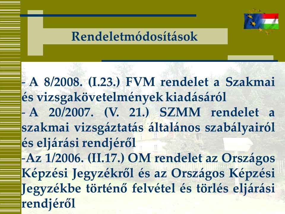 Rendeletmódosítások - A 8/2008. (I.23.) FVM rendelet a Szakmai és vizsgakövetelmények kiadásáról - A 20/2007. (V. 21.) SZMM rendelet a szakmai vizsgáz