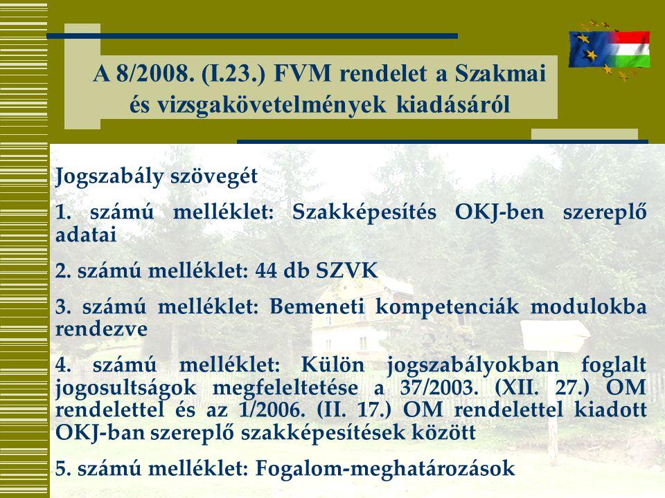 A 8/2008. (I.23.) FVM rendelet a Szakmai és vizsgakövetelmények kiadásáról Jogszabály szövegét 1. számú melléklet: Szakképesítés OKJ-ben szereplő adat